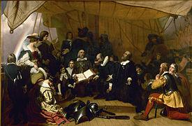 Les Pères pèlerins sur le Speedwell. (Source: Wikipédia)
