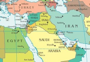 Middle-east-political-map-and-gulf-countries