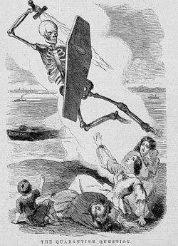 """The caption to this drawing from an 1858 issue of Harper's Weekly quotes a Dr. Anderson as saying: """"While the Angel of Death rides on the fumes of the iron scow, and infected airs are wafted to our shores from the anchorage, we shall have no security against these annual visitations of pestilence. """" Photo credit: © Corbis Images"""