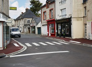 A view of the high street on May 7, 2014 in Sainte Mere Eglise, France