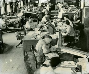 Editors in Inquirer Newsroom, 1938.